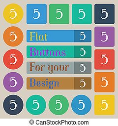 number five icon sign Set of twenty colored flat, round,...