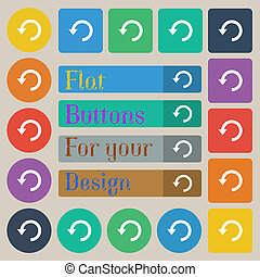 Upgrade, arrow, update icon sign Set of twenty colored flat,...