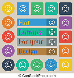 Winking Face icon sign Set of twenty colored flat, round,...