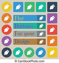 USB icon sign. Set of twenty colored flat, round, square and...