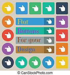 pointing hand icon sign Set of twenty colored flat, round,...