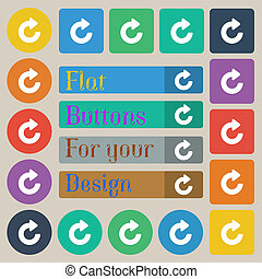 Upgrade, arrow icon sign Set of twenty colored flat, round,...