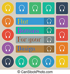 headsets icon sign Set of twenty colored flat, round, square...