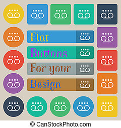 audio cassette icon sign Set of twenty colored flat, round,...