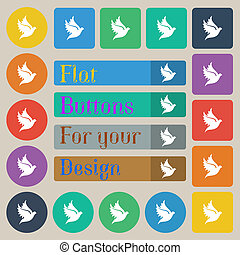 Dove icon sign Set of twenty colored flat, round, square and...