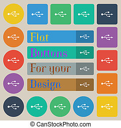 USB icon sign. Set of twenty colored flat, round, square and rectangular buttons.