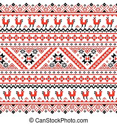 Ukrainian, Belarusian red pattern - Slavic folk art design...