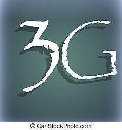 3G sign icon. Mobile telecommunications technology symbol. On the blue-green abstract background with shadow and space for your text.
