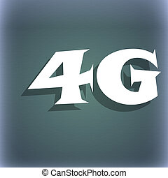 4G sign icon. Mobile telecommunications technology symbol. On the blue-green abstract background with shadow and space for your text.