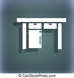 Nightstand icon sign. On the blue-green abstract background with shadow and space for your text.