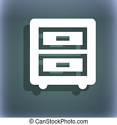 Nightstand icon symbol on the blue-green abstract background with shadow and space for your text.
