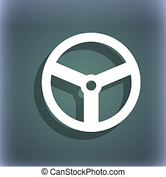 Steering wheel icon sign On the blue-green abstract...