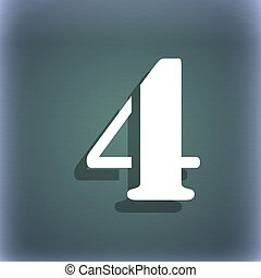 number four icon sign On the blue-green abstract background...