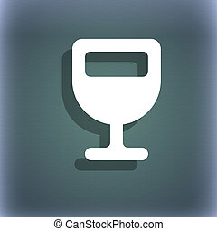 Wine glass, Alcohol drink icon symbol on the blue-green...