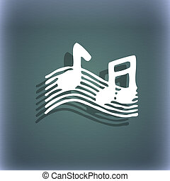 musical note, music, ringtone icon symbol on the blue-green...