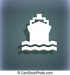 ship icon symbol on the blue-green abstract background with...