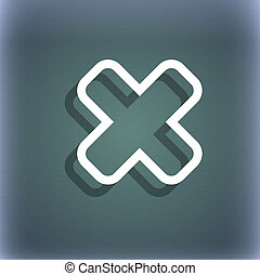 Cancel icon symbol on the blue-green abstract background...