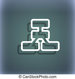 Network icon symbol on the blue-green abstract background...