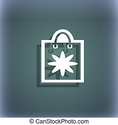 shopping bag icon symbol on the blue-green abstract...