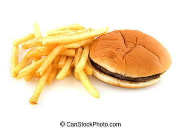 Junk food as hamburger with bread and fries
