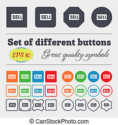 Sell, Contributor earnings icon sign Big set of colorful,...