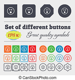Shocked Face Smiley icon sign Big set of colorful, diverse,...
