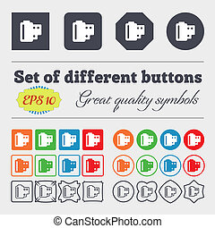 35 mm negative films icon sign. Big set of colorful, diverse, high-quality buttons.