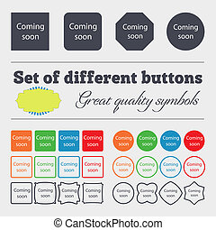 Coming soon sign icon. Promotion announcement symbol. Big set of colorful, diverse, high-quality buttons.