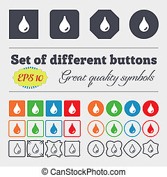 Water drop icon sign. Big set of colorful, diverse, high-quality buttons.