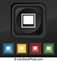 Photo frame template icon symbol. Set of five colorful, stylish buttons on black texture for your design.