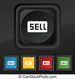 Sell, Contributor earnings icon symbol Set of five colorful,...