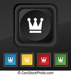 King, Crown icon symbol Set of five colorful, stylish...