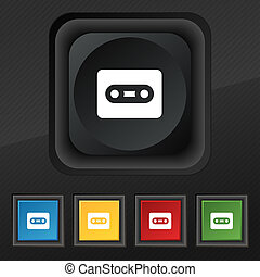 Cassette icon symbol Set of five colorful, stylish buttons...