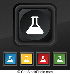 Conical Flask icon symbol Set of five colorful, stylish...
