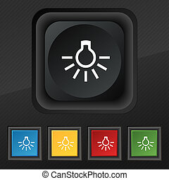 light bulb icon symbol Set of five colorful, stylish buttons...