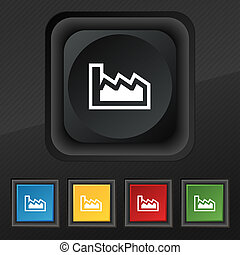 Chart icon symbol Set of five colorful, stylish buttons on...