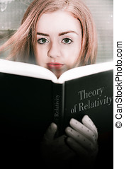 Reading Theory Of Relativity Book - Young Woman Holding An...