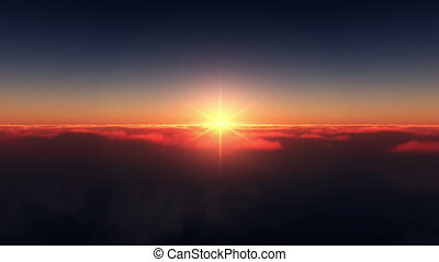 flying above the clouds sunset