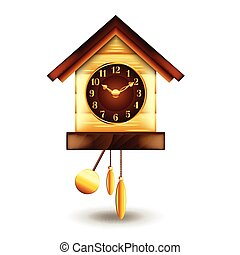 Cuckoo-clock isolated on white vector - Cuckoo-clock...