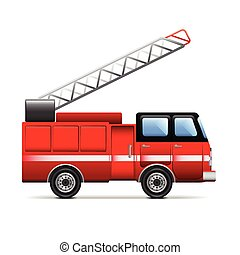 Fire engine isolated on white vector - Fire engine isolated...
