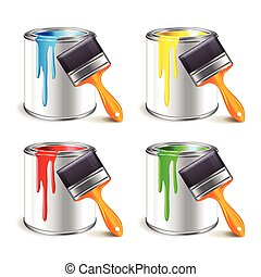Paint can isolated on white vector - Paint can and brush...