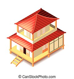Tradition japan house isolated on white vector - Isometrical...