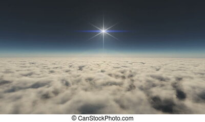 high above the clouds
