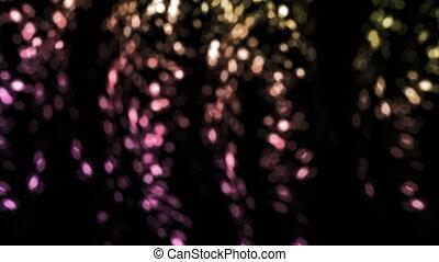 falling bokeh pink flakes flare