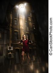 Time Flies Out Of Reach - Woman In Dark Street Or Alleyway...