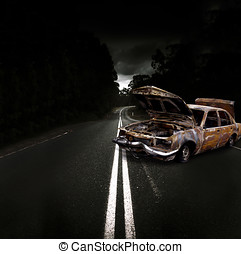 Smashed Up Car Wreck - Smashed Up And Wrecked Car With...