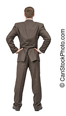 Rear view of businessman on white