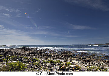 stunning pebble beach in galicia, spain - stunning stone and...