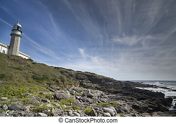 lighthouse in galicia - beautiful stone lighthouse in...