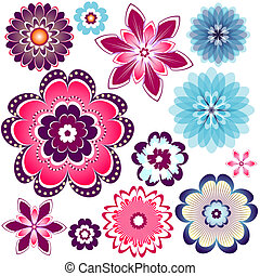 Collection lilas and blue flowers - Collection abstract...